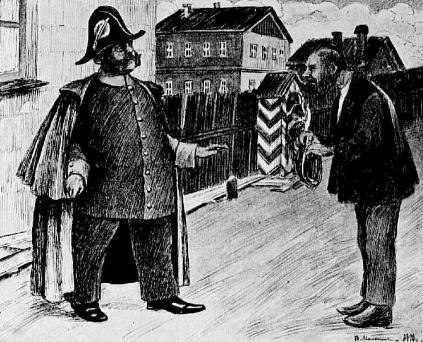 Городничий и портной. Рисунок художника В. Малышева. Опубликовано 1910.